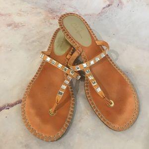 Cole Haan Orange Leather Crystal Trimmed Sandals